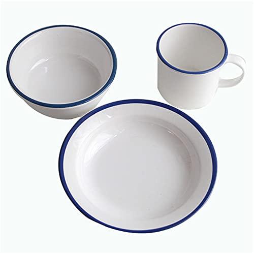 Vajilla de 3 piezas de esmalte de vajilla, platos esmaltados, cuencos esmaltados, tazas esmaltadas, taza de esmalte para acampar, picnic, uso diario (juego de 1, ovalado), color azul