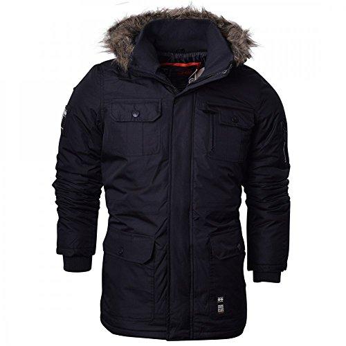 Crosshatch Mens Heavy Weight Fur Hood Parka Padded Waterproof Winter Coat Jacket Black Blue Large Black - Armour