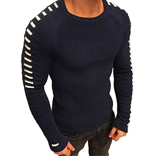 qulvyushangmaobu Jersey básico de cuello redondo para hombre Jersey de manga larga Chaleco cálido para hombre Jersey de invierno de secado rápido, cuidado fácil, Jersey de cuello redondo, transpirable