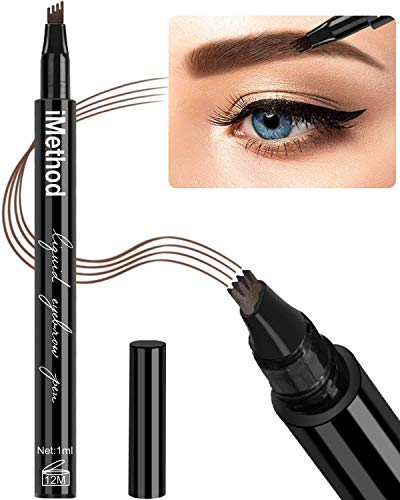 Eyebrow Tattoo Pen – iMethod Microblading Eyebrow Pencil with a Micro-Fork Tip Applicator Creates Natural Looking Brows Effortlessly and Stays on All Day
