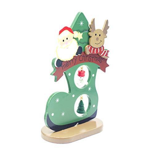 Amosfun Weihnachten Tischdekoration Weihnachten Holz Zeichen aus Holz Santa Rentier Stiefel Ornament Figur Weihnachtsfeier Dekor Geschenk grün s