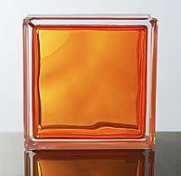 ガラスブロック ◆◆◆デザイン豊富20種類◆◆◆(カラーシリーズ) 190mm角×80mm厚 (1個(サンプル), In Colored Saffron)