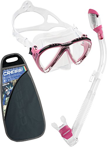 Cressi Matrix Tauchen Brillen–Schwarz, Pink mit Schnorchel