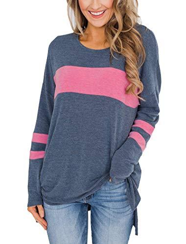 Camiseta sin botones Hilltichu, de manga larga para mujer, cuello redondo, corte lateral, túnica alta y baja, XL