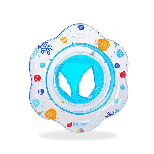 SDFY Bote Inflable para niños, Anillo de baño de bebé, Mini Bote Flotante para niños con Asiento Flotante para niños pequeños de Aproximadamente 50 cm (Azul)