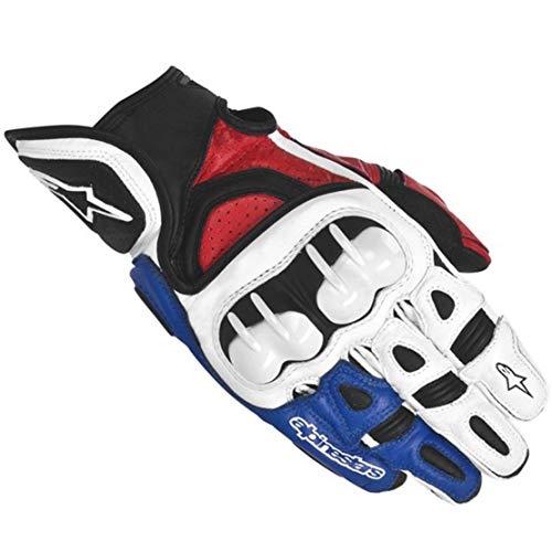 GPX Guantes de Cuero para Moto Anti-caída Antideslizante Guantes Llenos de Dedos para Montar al Aire Libre,Blue,L
