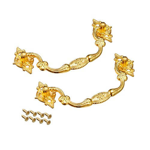 sourcing map 2pcs 104mmx41mm Eisen Lackierung Schublade Kasten Ring Zuggriff Gold Ton DE de