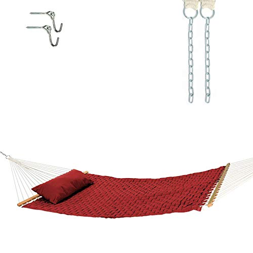 Castaway Hammocks 13 ft. Large Soft Weave Hammock with Free Extension Chains & Tree Hooks, Accommodates 2 People, 450 LB Weight Capacity, 13 ft. x 55 in. - Garnet
