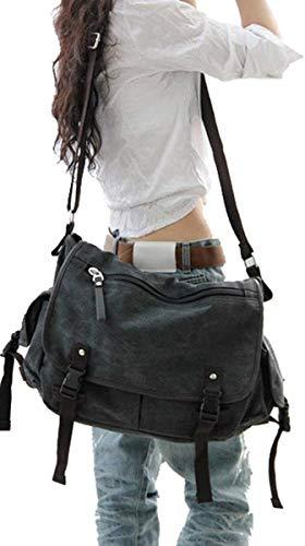 Review Of Vintage Canvas Messenger Bag Large Book Laptop Shoulder School Bag Women Men New