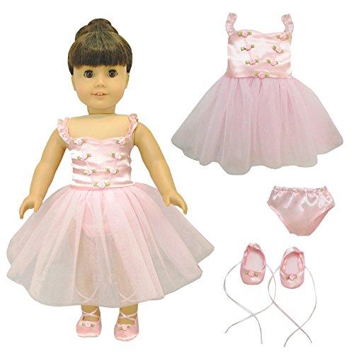 Pink Butterfly Closet Ballet Ballerina Dance Dress for 18-inch Dolls