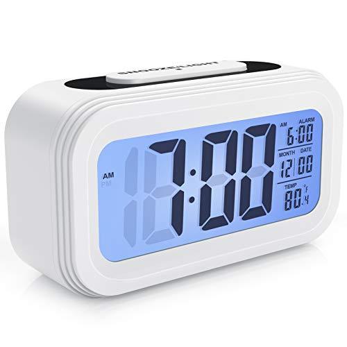 Enllonish Smart Digital Wecker Snooze 5 Minuten, Digital-Wecker mit Extra großem Display, Snooze, Datumsanzeige, Temperatur, Reiseuhr für Kinder Studenten und Erwachsene-Weiß