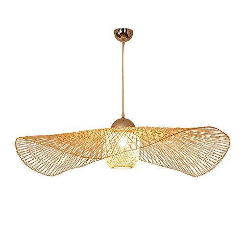 CSSYKV Candelabros tejidos de bambú de estilo japonés Lámparas de arte decorativo creativo Lámparas de techo de restaurante Nuevo restaurante chino Lámparas de escalera de vestíbulo Balcón Lámparas de