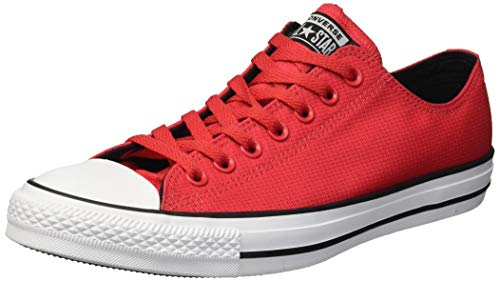 Converse Men's Chuck Taylor All Star Lightweight Nylon Low Top Sneaker, Cherry red/Black/White, 9 M US