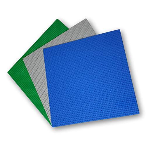 WANGE Placa Base clásica para Bloques de construcción. Compatible con Las Principales Marcas. 3 Placas 40 x 40 cm., 50 x 50 Puntos