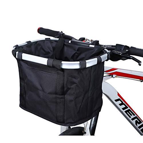 COEWSKE Bike Basket Detachable Mountain Bike Front Canvas Basket Bicycle Storage Bag (Black)