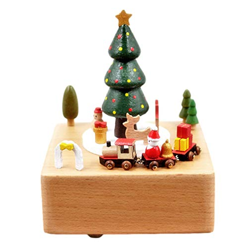 Christmas Wooden Roating Music Box, Christmas Tree Cute Animal Musical Box with 360 Degree Roating Train Toy, Perfect Christmas Birthday Present for Lover Friends and Children