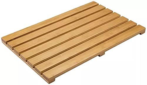 Tarima de Ducha Madera bambú Rectangular Antideslizante 53x36 cm-Uso en Espacios Interior y Exterior- 100% Eco-Friendly