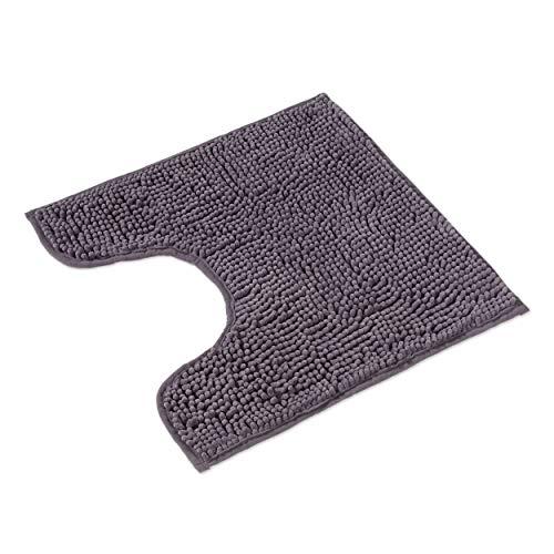 WohnDirect Badematte Grau • Badezimmerteppich zum Set kombinierbar, rutschfest & Waschbar • Badvorleger, WC Garnitur, Badteppich • MIT WC Ausschnitt • 45x45cm