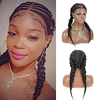 Kalyss 13x6  Fully Top Braided Lace Front Cornrow Braided Wigs with 2 Ponytails Lightweight Synthetic Lace Frontal Twisted Wigs with Baby Hairs for Women