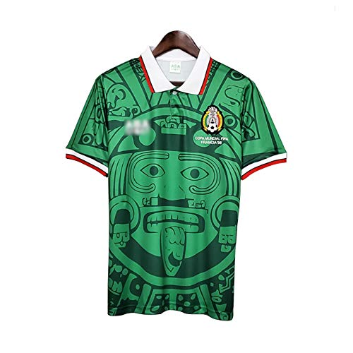Camiseta De Rugby para Hombre, Camiseta De Fútbol De México De La Copa Mundial De 1998, Polo De Entrenamiento De Partido De Fútbol Nacional Retro Local/Visitante Green-S