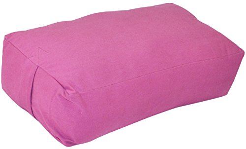 YogaAccessories Supportive Rectangular Cotton Yoga Bolster - Pink