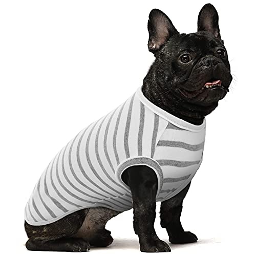 Cotton Hundekleidung Einfarbige Hunde-T-Shirts Kleidung, Baumwollhemden Weich und atmungsaktiv, Hundehemden Bekleidung Fit für kleine mittlere Hundekatze (Weiß, L)