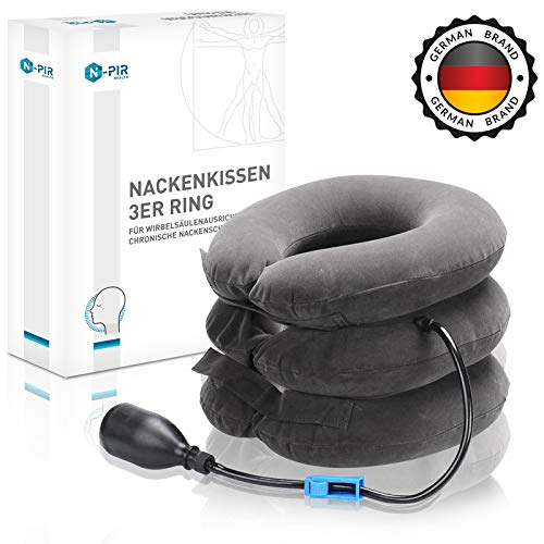 N-PIR Premium Nackenkissen aufblasbar I Innovatives neuartiges KONZEPT 2020 I für Reise Büro Flugzeug Auto Sofa Badewanne I schmerzfreie Entspannung durch Entlastung I Kopfkissen 2.0 als Problemlöser