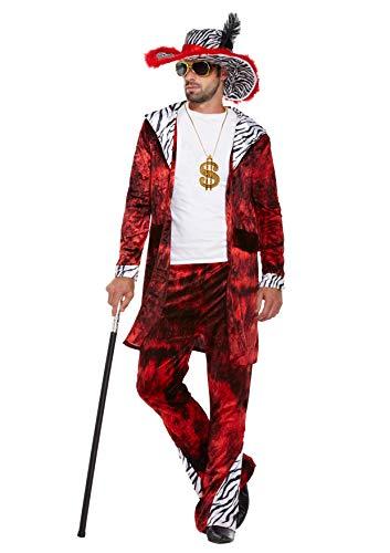 Legs Galore Herren Kostüm Big Daddy Pimp (Einheitsgröße) mit silberfarbenem Oberrohr