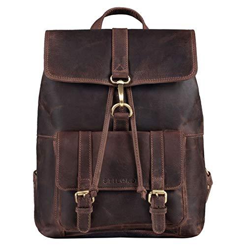 STILORD 'Kacey' Mochila Cuero Vintage Mujer Mochila Ordenador Portátil 13,3 Pulgadas Casual Daypack Ideal como Bolso Universidad Trabajo Viaje Piel Genuina, Color:Granada - marrón