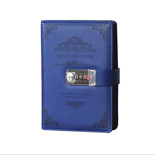 Lock Tagebuch Schreib-Notizbuch, A5, Leder Reisetagebuch mit Schloss Code, Vintage Passwort-Notizbuch, Tagebuch Planer Verriegelung für persönliches geheimes Tagebuch blau