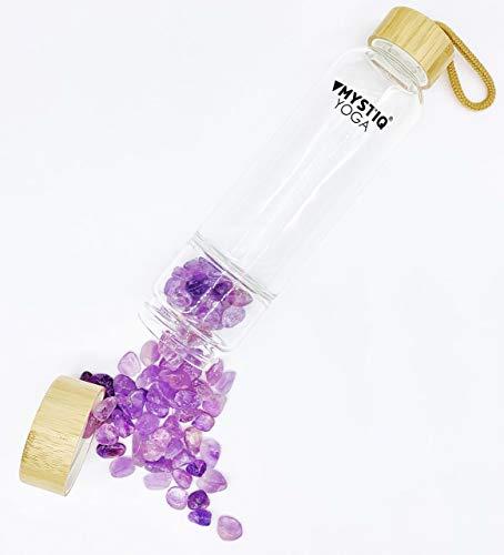 MYSTIQ YOGA | Botella de Cristal para Agua Elixir | 550ml | No BPA| Madera Bambú | Botella Deportiva para Infusiones con Pedrería | Cristales de Cuarzo & Estuche Neopreno Termo