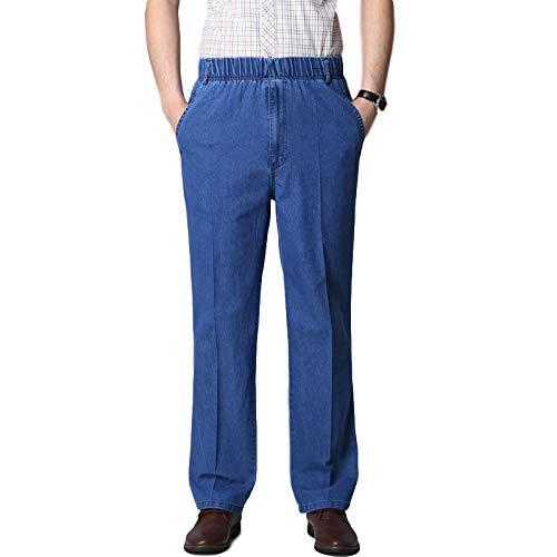 Pantalones Vaqueros para Hombre Primavera y Verano Pantalones Vaqueros elásticos elásticos de Cintura Alta Finos Pantalones Vaqueros Casuales Rectos Sueltos XL