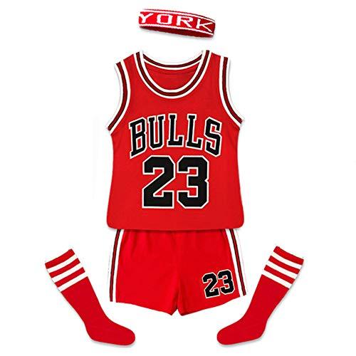 Jordrn Bulls # 23 Jungen Trikots Basketballwesten Haarband Socken Shorts 4-teiliges Set, Kindertrikots Trainingsoutfit Tops Wettbewerb Kleidung Anzug-red-100