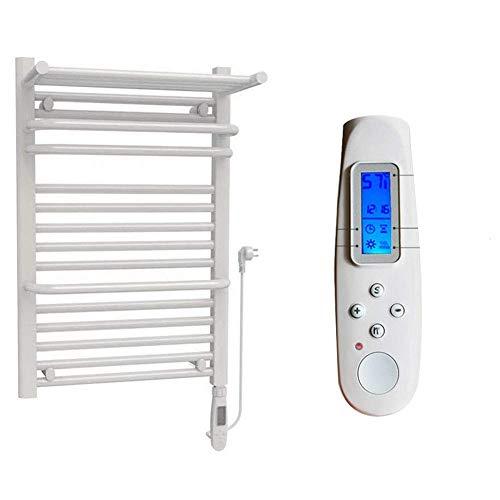 ZLININ Calentador de toallas montado con enchufe eficiente en la toalla, lado izquierdo, termostato, calentador de toallas para cuarto de baño, 466 W con base de energía