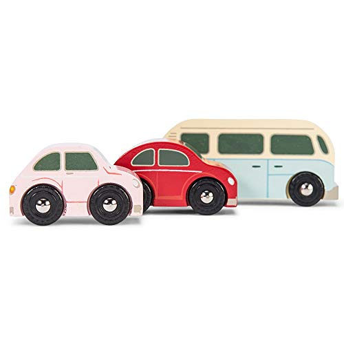 Le Toy Van - Cars & Construction Wooden Retro Metro Car Set Car Toy Play Set - Set 3 Cars | Boys Play Vehicle Kids Role Play Toys - Suitable for 3 Year Old + (TV463)