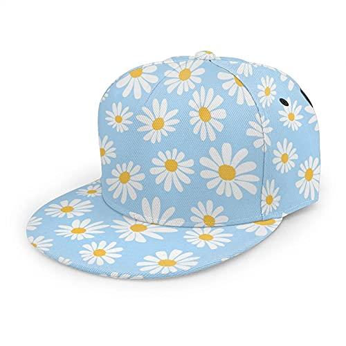 VJSDIUD Gorra de béisbol con diseño de Margarita para Mujeres, Hombres, Flores Blancas Florales, Gorra de béisbol con ala Plana de manzanilla, Gorra de Camionero con Snapback de Hip Hop