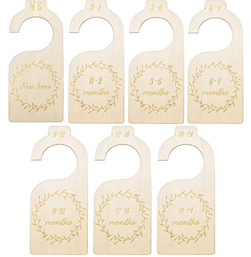 Wood Baby Closet Size Wardrobe Divider, Wooden Baby Closet Organizers, Hanging Clothing Rack Closet Dividers from Newborn Infant to 24 Months for Home Nursery Baby Clothes, Set of 7