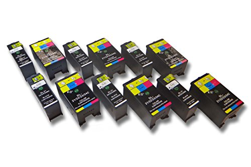 vhbw 12x printer ink cartridge set for Dell P513, P513W, P713, P713W, V313, V313W, V515, V515W, V715, V715W as Dell 21, 22, 23, 24.