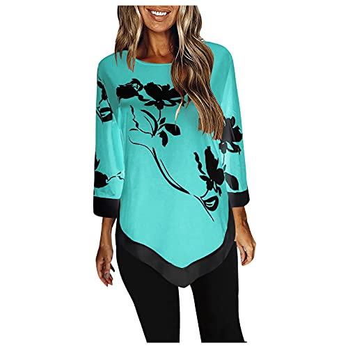 Esque Camisa De Mujer con Mangas Nueve Cuartos, Estampado Informal Blusa Color En Bloque Dobladillo Irregular,Blusa Irregular Y Floral para Mujer,Blusa Negra Tallas Grandes,2-Verde Menta,5XL