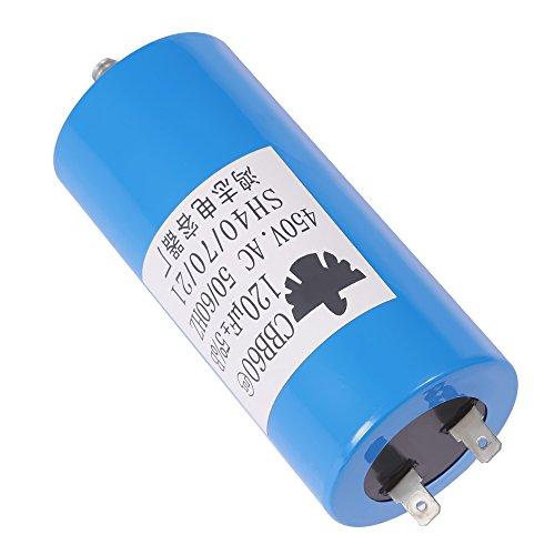 QKPARTS CBB60 Run Capacitor 450VAC 450V AC 120uF 120 MFD UL Listed W/Fixing Stud Blue