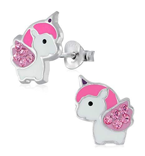 Laimons - Pendientes para niña, joyas para niños, unicornio rosa con purpurina, plata de ley 925