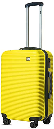 "24""/64cm ATX Luggage Medium Super Lightweight Durable ABS Hard Shell Hold Luggage Suitcases Travel Bags Trolley Case Hold Check In Luggage with 4 Wheels Built-in 3 Digit Combinatio(24' Medium, Yellow)"
