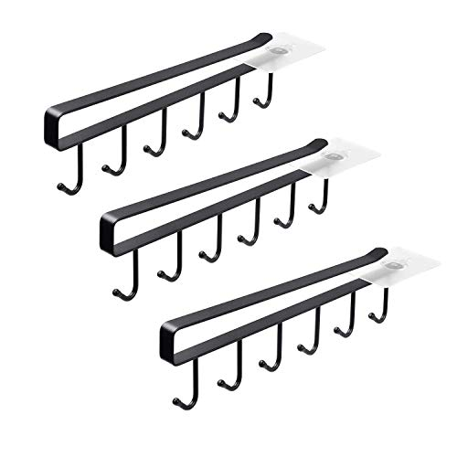 ECROCY Adhesive Cup Holder Under Cabinet  3pcs x 6 Hook Coffee Cup Mug Holder for Kitchen Fit for 1 Inch Thickness Shelf or Less  Only Fit for Flat Buttom Cabinet Without Any Lip