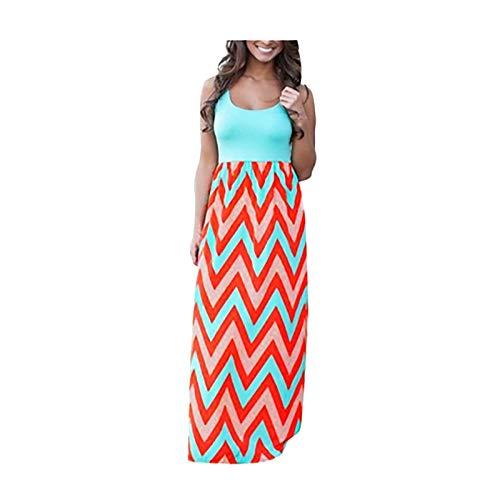 YANFANG Vestido Largo Bohemio a Rayas Casual para Mujer Vestido Largo de Verano de Playa de Dama Sundrss Maxi,Vestidos Sueltos de Talla Grande Sólidos de Verano,Blue,M