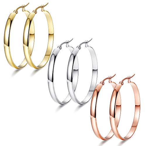 Adramata 3 Pairs Clip On Hoop Earrings for Women Large Looped Earings Set 3 Colors in Silver/Gold/Rose Gold Ear Rings Elegant Personalized Gift 30mm, 40mm, 50mm, 60mm Ear Hoops