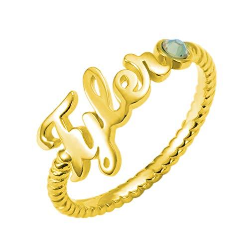 Anillo de nombre personalizado Personalización 1 anillo de piedra natal Anillo trenzado Anillo de promesa Halloween para mujeres(Chapado en oro de 18 k 22.5)