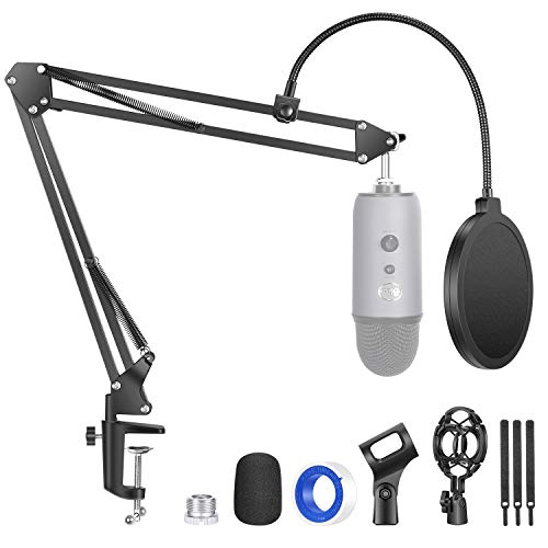 Neewer Upgraded NW-35 Pro Mic Stand Sturdier Microphone Arm Stand Compatible with Blue Yeti Snowball Ice, Suspension Boom Scissor Arm with Pop Filter/Shock Mount/Cable Straps/Mic Clip, Max. Load 1.5KG