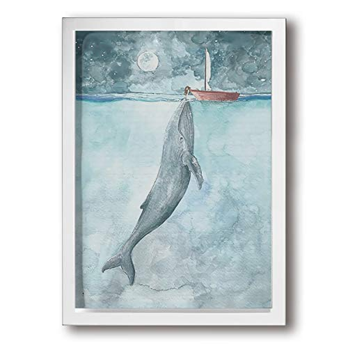 Colla Watercolor Art Whale Sailboat A Perfect Wall Decorations Paintings For Living Room, Bedroom, Kitchen, Office