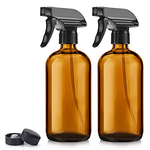 Titanker 2-Pack Spray Bottle, Amber Glass Spray Bottles, Empty Mist Spray Bottle Trigger Sprayer, Refillable 16oz Container (Brown)
