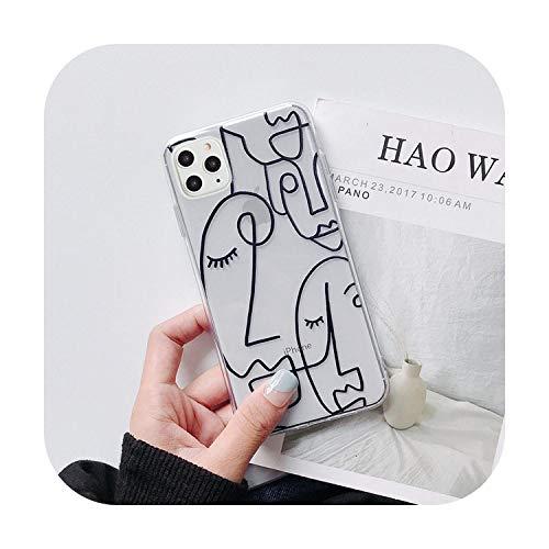 N/A Funny Art Abstrakte Handy-Schutzhülle für iPhone 11 Pro X Xr Xs Max 7 8 6 6S Plus 5 5S SE transparent Buchstabe Soft TPU Back Cover -8822 für iPhone 7 Plus